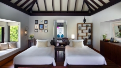 Anantara Kihavah Family Beach Pool Villa twin bedroom